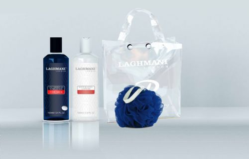 Laghmani Blue for Mens - Shower Gel, Body Puff and Lotion